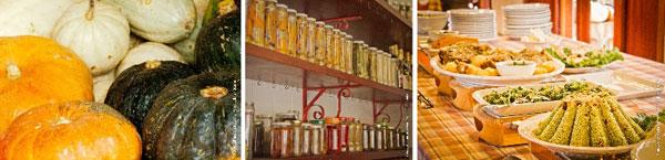 Produtos in natura, conservas e refeições orgânicas da Casa do Lago